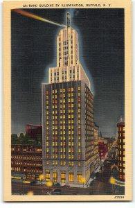 Rand Building at Night by Illumination, Buffalo NY - Gorgeous Linen Postcard