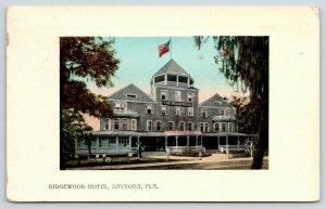 Daytona Florida~Ridgewood Hotel~Ladies on Porch~1914 Valentine & Sons Embossed