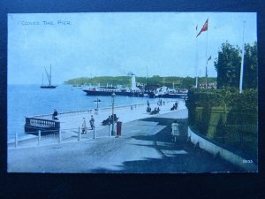 Isle of Wight COWES The Pier showing Paddle Steamer Ferry - Old Postcard