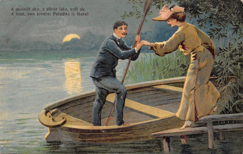 PFB Paradise~Romantic Couple on Silver Lake~Rowboat~Full Moon~Embossed~No 6006