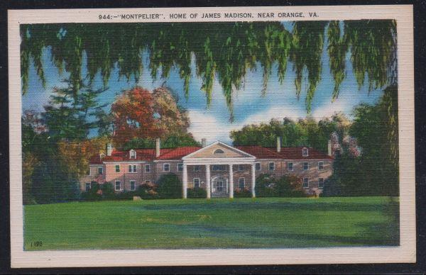 Virginia postcard Montpelier Home of James Madison near Orange unused