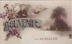 Souvenir De St. Gilles, Pink Roses, Dove with Sealed envelope in beak, Man si...