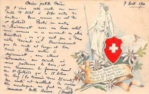 Switzerland Flag Edelweiss Heil Dir Helvetia, Hast der Soehne Embossed 1900