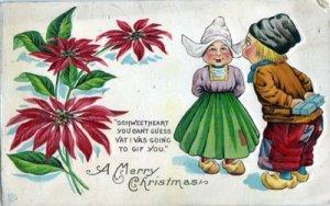 DUTCH BOY & GIRL / MERRY CHRISTMAS + POINSETTIA / 1910s
