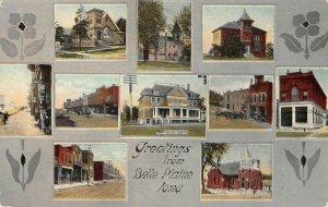 Belle Plaine, Iowa Herring Cottage, Street Scenes c1910s Vintage Postcard