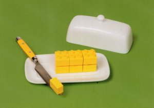Slice Of Butter Margarine Dish Knife Lego Toy Display Postcard