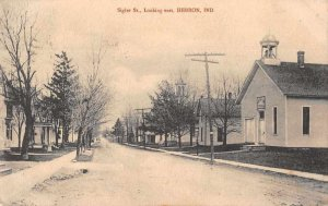 Hebron Indiana Sigler Street Looking East Vintage Postcard JI658468