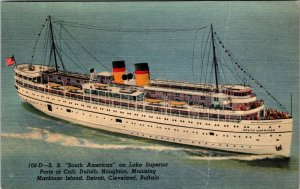 Boat Ship SS South American Lake Superior Postcard Old Vintage Card View Post PC