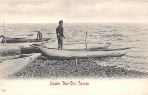 South Africa Native Dug-Out Canoes, Boats, Natives