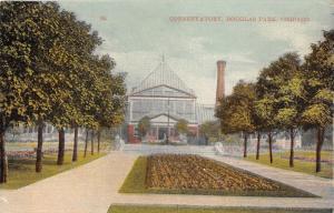 Chicago Illinois~Douglas Park Conservatory Building~Garden by Pathways~c1910 Pc