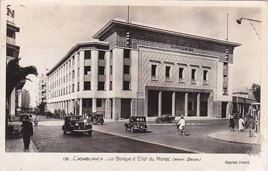Morocco Casablanca La Banque d'Etat Du Maroc Bank 1943 Real Photo RPPC