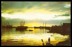 SUNSET AT PORT-OF SPAIN WHARVES
