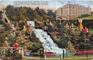 Chicago Illinois c1943 Postcard Olson Rug Company Waterfall & Rock Garden