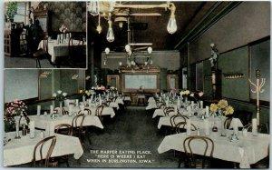 Burlington, Iowa Postcard THE HAPPIER EATING PLACE Restaurant Interior Unused