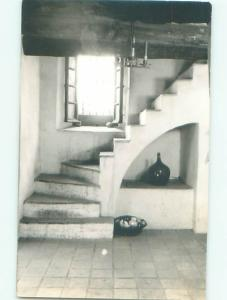 rppc Pre-1950 WINDING STAIRCASE BY THE WINDOW AC8059