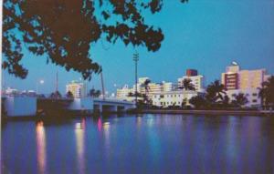Florida Miami Beach Indian Creek At Night