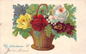 Wij feliciteren U Congratulations! Roses Violets Pansy Muguet Forget-me-not 1905