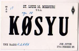 K0SYU, Joe Joyce, St Louis MO. 1959