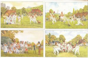 Group Bad Behaviour 4x Steve Garner Cartoon Rare Cricket Comic Humour Postcard s