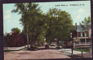 P1448 old unused postcard horse & wagon south main st. wolfeboro newhampshire