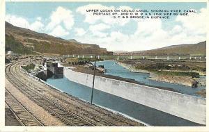Upper Locks on Celilo Canal Oregon OR White Border Postcard