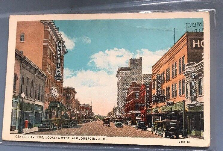 Central Ave., Albuquerque , NM, c1920s Postcard Looking West Many signs, autos