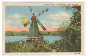 Windmill Hanson Island Fountain Lake Albert Lea Minnesota 1947 postcard