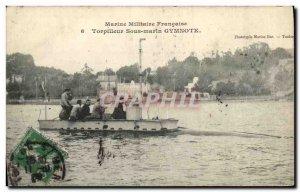 Old Postcard Boat War Torpedo submarine Gymnote