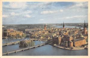 Sweden Old Vintage Antique Post Card Utsikt fran Stadshustornet Stockholm 1953