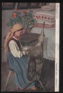 101444 SPINDLE Rural Girl by PIEKARSKI Vintage PC