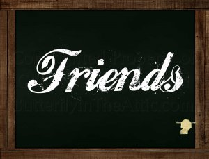 Set of 6  Postcards Blackboard Greetings - Friends - Simple Expressions