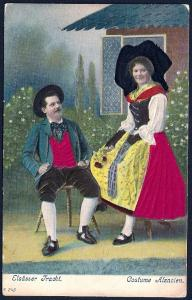 Alsatian Couple in Costume w/Silk Inserts used c1910