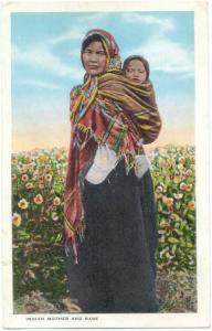 Indian Mother and Babe, White Border