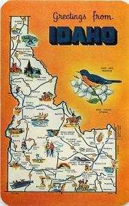 Map Card Greetings from Idaho ID Chrome