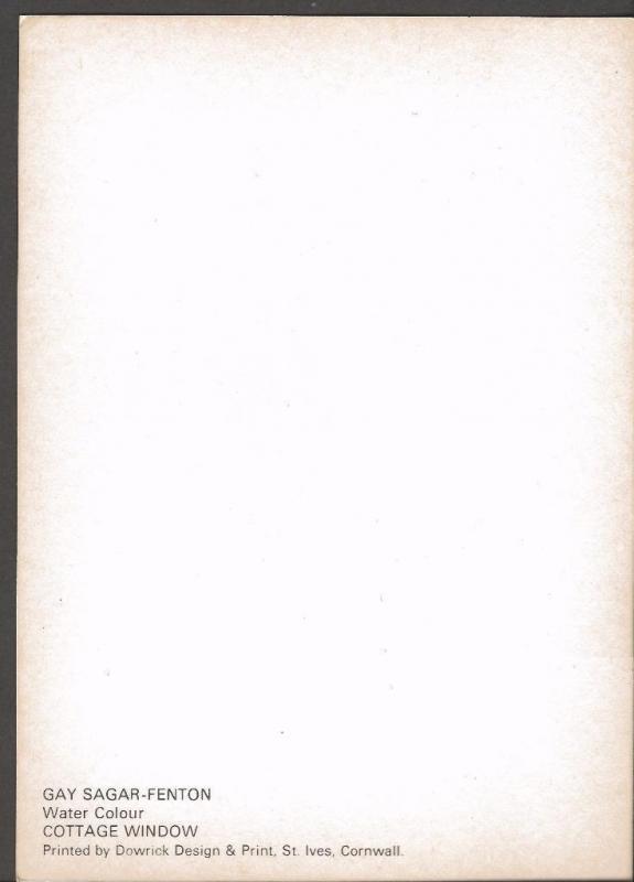 Postcard Art Water Colour Painting Print COTTAGE WINDOW by Gay Sagar-Fenton