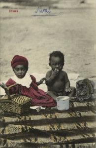 south africa, Native Girl, Boy and Cat having a Picnic, Chums (1910s) Postcard