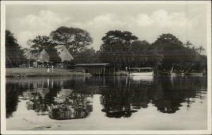 Boathouse on Zambesi River - Victoria Falls Real Photo Postcard
