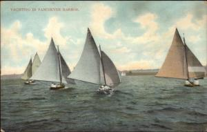 Vancouver BC Yachting in Harbor c1910 Postcard