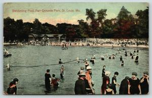 St Louis Missouri~Fair Grounds Park~Swimming Hole~Bath House~Beach~1914 Postcard