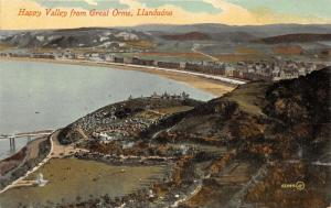 llandudno Wales UK~Bird's Eye View of Happy Valley from Great Orme~c1910 Pc