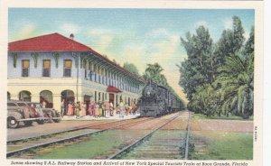 Florida Boca Grande Special Tourist Train At  Railway Station Curteich sk1519