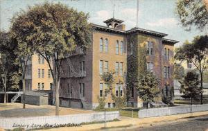 Danbury Connecticut~New Street School~Fire Escapes~Picket Fences~1908 Postcard