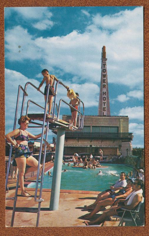 Tower Hotel Courts Swimming Pool View Dallas Texas tx roadside motel postcard