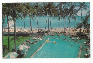 WAIKIKI BEACH, Honolulu, Hawaii, 1940-60s; Outrigger Hotel, Swimming Pool