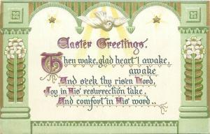 Easter greetings embossed white dove peace flowers Tuck`s postcard