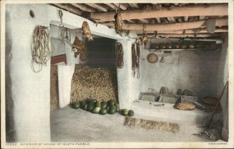 Native Isleta Pueblo Indian Home Interior Fred Harvey 10992 C1910