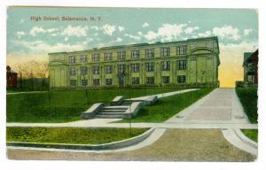 West Salamanca to Springville, New York 1914 used Postcard, High School