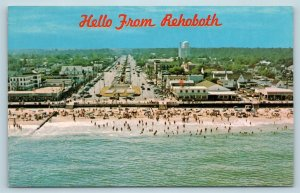 Postcard DE Rehoboth Beach Airview Band Stand Rehoboth Ave Boardwalk c1960s 2T10