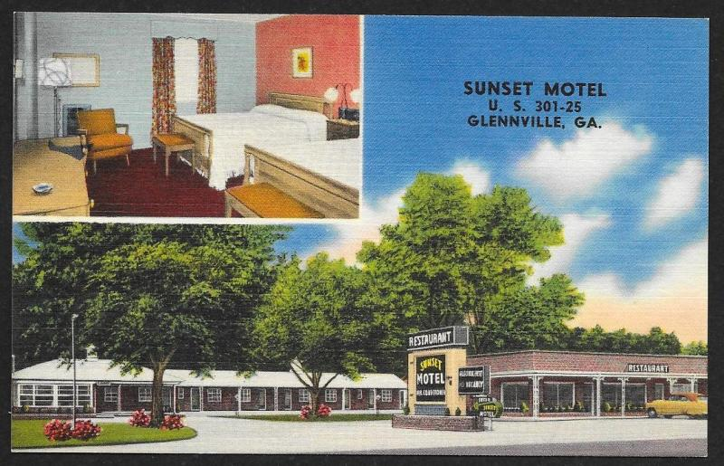 Sunset Motel Glennville Georgia Unused c1950s
