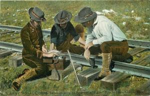 c1910 US Army Signal Corps Military Railroad Buzzer Communication Tuck Postcard
